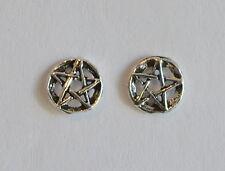 Paio Di Argento 925 Pentagramma Rotondo Orecchini A Perno New