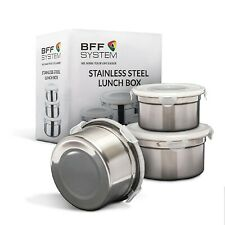 BFF System Stainless Steel Lunch Box Set of 3 Reusable, Leak Proof, Food Storage