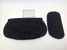 Vintage Handmade Beaded Clutch & Matching Glasses Case Imperial May Co. Black