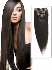 """Emosa 100% Real Human Hair Straight Remy Clip in Extensions Dark Brown 18"""" 70gr"""