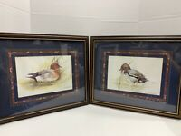 "Joel Kirk Duck Prints Matted Framed Signed Wall Hangings Decor 15""x17"" Set Of 2"