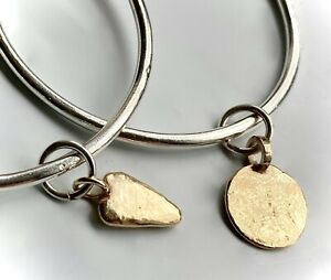 20gram HAND MADE 9K SOLID GOLD MOON DISC CHARM on SILVER BANGLE 3mm HALLMARKED