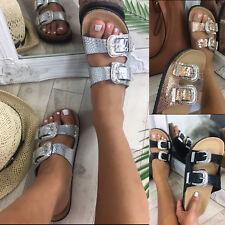 Ladies Womans Buckle Slip On Mule Summer Sliders Platform Sandals Shoes Size 3-8