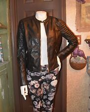 H &M ! ROCKABILLY FAUX QUILTED LEATHER MOTORCYCLE JACKET! NEW! SZ 8/10