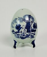 Delft Blue Footed Egg Shape Shaker Salt Pepper Hand Painted Ceramic Porcelain