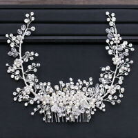 Pearl Beads Shiny Crystal Tiara Crown Hair Wedding Accessories Head Piece Bride