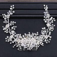Pearl Beads Shiny Crystal Tiara Crown Hair Wedding Accessories Head Piece Bride