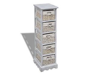 Wooden Storage Rack Unit 5 Weaving Baskets White Bathroom Kitchen Fabric Drawer