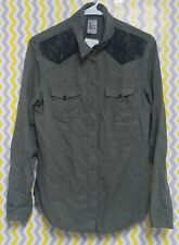 H&M 8 Western Style Lace Inlay Button Down Military Green Long Sleeve Blouse Top