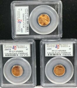 2009-D 2009 Lincoln Early Childhood / Formative Yrs 1C PCGS SP69RD SP68RD 3 SET