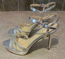 Marc Fisher Ufaso Stiletto Heel Silver Rhinestone Platform Sandals Sz 8.5