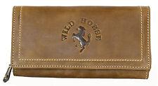 Women's natural glazed genuine leather wallet Wild Horse. Worldwide Shipping.