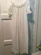 Infant Beautiful Vintage Christening Baptismal Gown White Long Sleeve  3 - 6 M