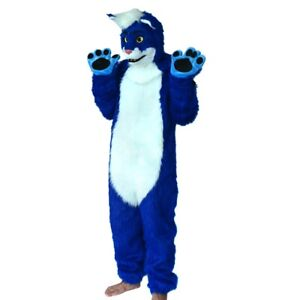 Can Move Mouth Blue Cat Mascot Costume Fursuits Cosplay Animal Christmas Adult @