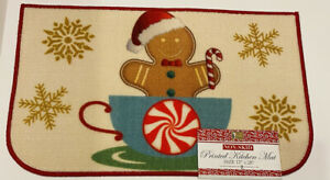 """BETTER HOME Non-Skid Printed Kitchen Mat,  GINGERBREAD MAN IN MUG 17""""×28"""" ☆NWT☆"""
