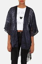 Topshop SIZE 10 Laser Cut Deep Navy Blue Semi Sheer Mix Material Fringed Kimono