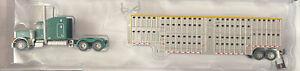 TRAINWORX N SCALE GREEN PETERBUILT 379 CATTLE TRUCK W/ TRAILER *modified*