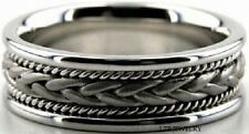 MENS SOLID 18K WHITE GOLD MENS WEDDING BANDS RINGS SATIN BRAIDED HANDMADE 7MM