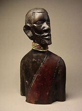 ANTIQUE WOOD-CARVED AFRICAN TRIBAL ELDER. Circa: 1900's