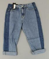 Nasty Gal Women's Roll Cuff Side By Side Mom Jeans SH3 Blue Size US:6 NWT