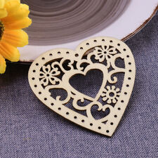 10pcs Wooden Hollow Flower Hearts with String for Wedding Party Xmas Tree Decor