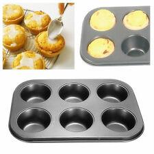 Nonstick Metal 6 Cup Muffin Cupcake Cake  Bakeware Pan Tray Tin Mould GM