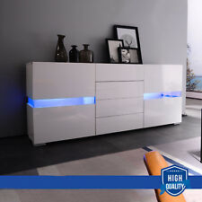 RGB LED Sideboard Cabinet High Gloss White Chest of 4 Drawers 2 Doors Cupboard