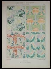 TENTURES ART NOUVEAU -1901- LITHOGRAPHIE, LEO CARRIERE, FLEURS, OISEAUX