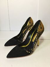 =CHIC= RUPERT SANDERSON Metallic Gold Foil Black Suede Leather Party Heels US8