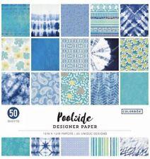 "Colorbok Designer Single-Sided Paper 12""X12"" 50/Pkg Poolside Blue/green Shades"