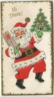 VINTAGE CHRISTMAS SANTA CLAUS TREE PRESENTS STOCKING GOLD GLITTER GREETING CARD