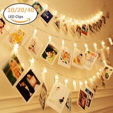 10/20/40 Photo Window Hanging Peg Clips LED String Lights Christmas Fairy Decor