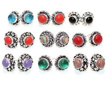 Classic Lot !! 10 PCs. Charoite & Coral 925 Sterling Silver Plated Stud Earring