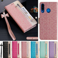 Zipper Card Wallet Leather Flip Cover Case For Huawei P30 Lite Y7 2019 P20 Lite
