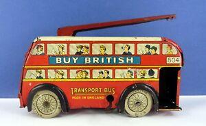 WELLS O LONDON / WELLS BRIMTOY TINPLATE CLOCKWORK TROLLEY BUS