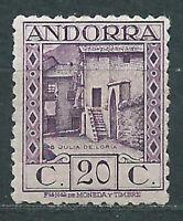 Andorra Española Sueltos 1931 Edifil 19d dentado 11½ * Mh