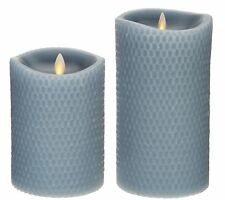 "Luminara 5"" and 7"" Honeycomb Embossed Flameless Candles - Blue Mist"