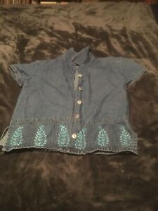 Time Out Girls Size Small Denim Shirt With Floral Stitched Print