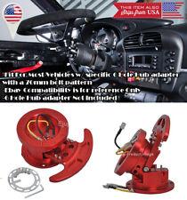 "2.4"" Extend Aluminum Red Steering Wheel Quick Flip Tilt For Ford Chevy Dodge"