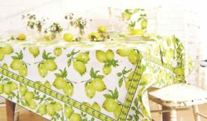 April Cornell Floral Tablecloth  Lemons Yellow & White 60 x 120 Oblong Cotton