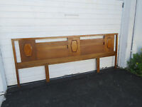 Mid Century Modern Burl Wood Extra Long Full Queen Size Headboard 8591