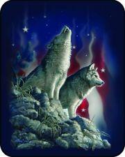 "79""x 96"" Queen Patriotic Wolves American Flag Mink Blanket Super Plush Fleece"