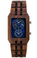 Tense Inuk - Rectangular Dual-Time Wooden Watch American Walnut/ Dark Sandalwoo