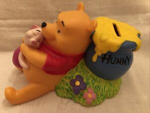 DISNEY'S Winnie The Pooh Plastic Coin Bank by Applause Pooh, Piglet & Hunny Pot