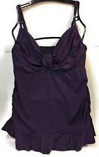 Lands End Swimdress Tankini Top Size 14 Purple Gathered Bodice Ruffle Hemline