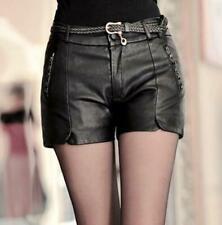 4XL 3XL Womens Low Waist Punk Shorts Casual Faux Sheep Leather Pants Black Pants