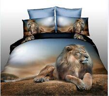 3D  Lying Lion In the Desert Bedding Set Duvet Cover Bed Line Bedclothes Queen