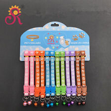 Bundle 12PCS Lot Small Dog Collar Pet Puppy Kitten Necklace W/Bell Buckle Gift