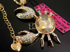 Betsey Johnson fashion crystal crab Pendant Necklace Sweater chain charm HH12