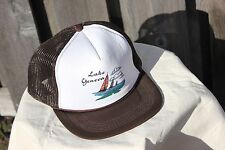 Vintage Mesh Tucker Hat Lake Geneva Retro Snap Back Adjustable One Size